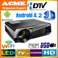 LCD led hdtv - HDTV android WIFI LED Projector Native Resolution Multimedia Theater Home Video projector Lumens Factory Direct Sell