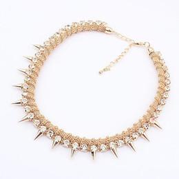 Cheap Jewelry High Qultiy Gothic Punk Style Bib Collars Choker Jewelry With Rivet Crystal Rhinestone For Women S93679