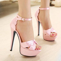 Women adorable prom dresses - 2014 adorable pink wedding bride shoes peep toe stiletto heel ankle strappy satin shoes prom gown dress shoes colors eu