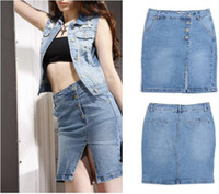 Wholesale 2014 New Arrival Spring Summer Freeshipping Women sexy Mini Blue Jean skirts New Fashion Ladies Split Mid waist Hot Clothing