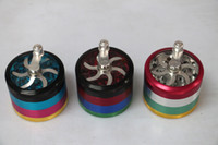 Wholesale New Metal Alloy Tobacco Herb Grinder Pocket with Parts Cigarette Smoking Spice Crusher layers HAND CRANK
