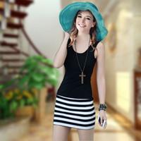 Casual Dresses V_Neck Sheath 2013 Summer Code Dress New Slim Striped Vest dress Package Hip Sling Bottoming dress