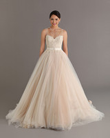 Wholesale 2014 Gorgeous Beaded Wedding Dresses Ball Gown Sheer Jewel Sleeveless Pearls Tulle Sweep Train Bridal Gown with Sash