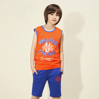 teen clothes - Boys summer teen clothing year old boy in the summer sleeveless cotton suit Tide
