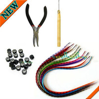 Wholesale 20 GRIZZLY Feather Hair Extension with beads Tools