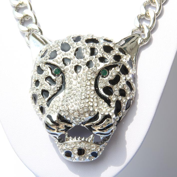 Big silver leopard jaguar pendant 12mm 20 link chain for Big box jewelry stores