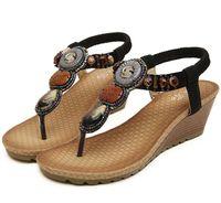 Flat Heel wedges - 2014 handmade gem bohemian rhinestone sandals small wedge heel flip flops beach sandals soft sole women cheap sandals colors size
