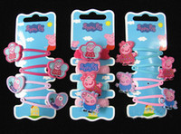 Barrettes Alloy Paint  Animal Hot sellin 1000pcs lot Baby girls hairpins Children Hair clips Peppa pig silicone Headhands Lovely doll girls accessories mix 10 styles