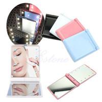 Wholesale 30pcs Creative mirror Fashion mirror LED mirror makeup mirror Pocket makeup mirror Lady Makeup Cosmetic Folding Portable