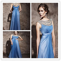 Reference Images Sweep Train Chiffon 2014 New Summer BLue Chiffon Crystal Hollow A-line Prom gown Party Dresses Bateau sweep train Custom Made A020