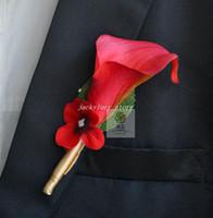 al por mayor cala anaranjada boda del lirio-Boutonniere Flores de la boda real de Touch cala Corpiños hecho a mano del novio para la boda rojo anaranjado blanco color 10pcs púrpura / lot