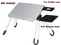 Metal School Furniture Computer Desk 100% All Aluminum Folding Portable Laptop Desk Notebook Table With Mouse Mat,Coffee Cup Position Bed Computer table desk
