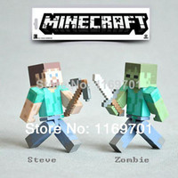 Wholesale MINECRAFT Steve amp Zombie The Player Action Figures game toys Sword and Piackaxe