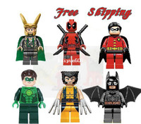 Wholesale Super Heroes Toys Building Blocks Avengers LOKI BATMAN DEADPOOL GREEN LANTERN WOLVERINE ROBIN Star wars Action Mini figures toy