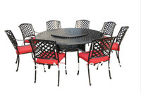 Wholesale Spring Promotion NEW patio round dining Set with Lazy Susan metal amp fabric warehouse in the US outdoor furniture