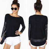 Wholesale Woman Black PU Leather T shirts Tees Round Neck Long Sleeve Casual Tee Shirt Hip Hop Pullover Top T Shirt ZND0529