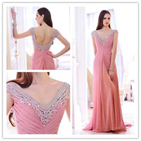 Reference Images V-Neck Chiffon Fashion 2014 Summer chiffon Peach Diyouth V-Neck Crystal Prom dreses Party Gown Cap sleeves Backless Custom Made A023