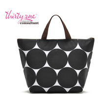 Wholesale Big Polka Dot Summer Portable ice pack cooler bag lunch bag Shoulderbag black