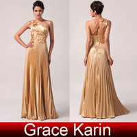 Wholesale Top Selling Grace Karin Golden Sexy One Shoulder Sleeveless Satin Floor Length Ball Gown Evening Prom Party Dress Size CL6033