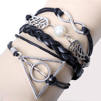 Wholesale 24 Mix Style infinity Bracelet Harry Potter Magic Hallows Bracelet Angel Wings Wax Cords and Leather Charm Braid bangle