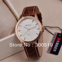 Men's Water Resistant Round Wholesale-JW410 Vogue Business Watches Men Leather Strap Wristwatches Japan Movement Quartz Clocks CURREN Brand Hours