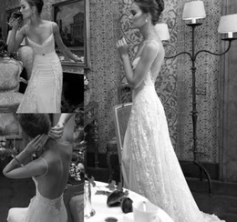 Wholesale Romatic Castle Beach Wedding Dresses Sheath Spaghetti Straps Bare Backless Chiffon and Lace Overlay Sweep Train Bridal Gowns Summer