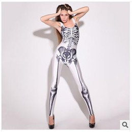 Wholesale 2014 New Women Bodysuit Sexy Jumpsuit Skeleton D Digital Printed Catsuit Rompers Bodycon Jumpsuit Club Wear Party Costume Cosplay