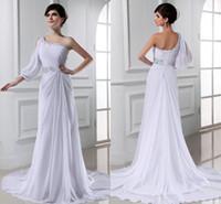 Wholesale White Chiffon A line Wedding Dresses Beaded Sequins One Shoulder Floor Length Backless Beach Wedding Dresses Arrival