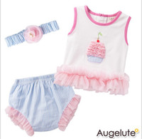 Girl baby short stock - In Stock Summer Toddler Baby Clothing Set Refreshingly Flower Pure Cotton T Shirt Shorts Headband Baby Girl Set Infant Suit GX360