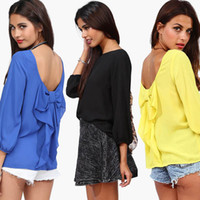 Women Polyester Hollow Out Free Shipping 2014 New Women Celebrity Fashion Full Sleeve Back Hallow Out Elegant Tops Ladies Chiffon Shirt