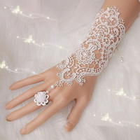 Wholesale 2015 Ivory New Hot Sale Fashion White Ivory Pearl Lace Wedding Bride Bridal Gloves Ring Bracelet