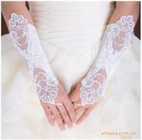Wholesale 2015 White Bridal Glove Wedding Gloves Lace No finger Wedding Satin Lace Beads Fingerless Bridal Gloves PH0009