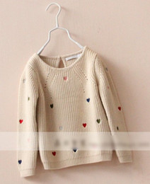 Wholesale 2014 Children Lovely Muti colored Heart Sweater Kids Graceful Embroider Beige Knits Girls Pullover Long Sleeve Knitted Sweaters I1099