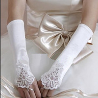 Wholesale Fingerless Satin Lace Long Wedding Gloves Bridal Stretch Prom Opera Beaded Party HQ0004 Free amp DropShipping