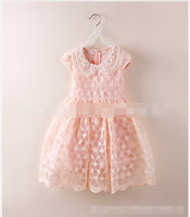 TuTu Summer A-Line Summer Kids Girls Dressy Korean Cotton Tops Chiffon White Flower Pattern Lace Lapel Princess Dress Pure Coloured Dresses J0118