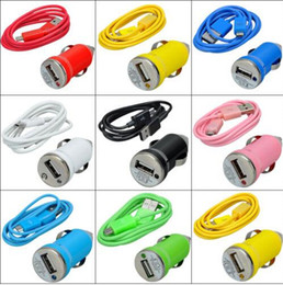 travel 2 in 1 Chargers Kit USB Car Charger+ Micro USB Data Cable For Samsung Galaxy S4 S3 Note 2 Universal Colorful
