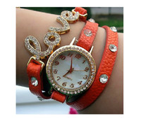 2014 New 6 Color Rhinestone Leather Wristband Wrap Around Br...