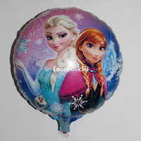 Wholesale Cartoon Metallic Happy Birthday Decoration Frozen Princess Queen Anna Round Balloon for Kids Party Supplies Foil Ballon inch