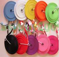 Cheap 200pcs up 1m 2m 3m V8 Micro Colorful Noodle Flat Data Sync USB Charging Cable for Samsung S3 S4 HTC One M8 Blackberry LG Cell phone
