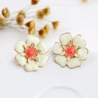 Cheap New Arrival 2014 Items Two Color Option Eamel Flower Design Alloy Stud Earrings For Women