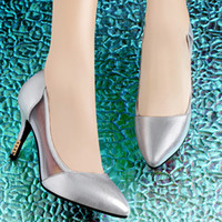 Wedding Heels Kitten Heel Guciheaven 7973 Wedding Shoes Women Sexy Pointed Toe Pumps 2014 New Summer Breathable Mesh High Heels Shoe Fashion Silver Black Heel Cheap