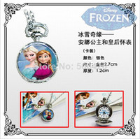 Fashion Children's Quartz 2014 10pcs lot New Arrival Quartz Fashion Jewelry Silver Color Alloy Chain Pocket Watch Necklace Frozen cartoon style.