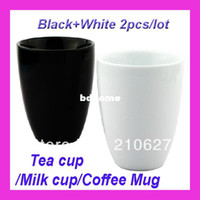 Wholesale Aliexpress New double layer Ceramic Cup insulated drinking tea cup Coffee mug with black and white