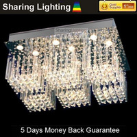 LED 110V Surface mounted [Huizhuo Lighting]Contemporary W50cm*H100cm Square Crystal Ceiling Chandelier Light