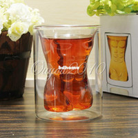 Wholesale Muscle Hunk Man Cup Novelty Handsome Crystal Glass Cup Transparent Shot Double Layer Mugs Creative Bar Wine Beer Juice Drinkware