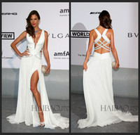 alessandra ambrosio - 2014 Alessandra Ambrosio Festival De Cannes Evening Gowns Red Carpet Dresses Sheath Plunging Neckline High Split Side Chapel Train Chiffon