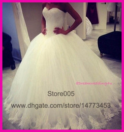 Wholesale 2015 New Arrival White Lace Sweetheart Ball Gown Floor Length Wedding Bridal Dresses Gowns Custom Made Tulle W2863