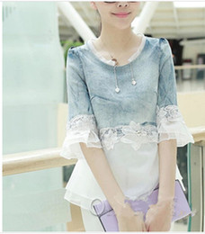 Wholesale 2014 New arriva Girl s Nice Fashion T Shirt Jeans Lace T Shirt For Big Girl s T Shirt Z0528