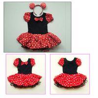 Summer A-Line Knee-Length Kids Best Gift Minnie Mouse Pary Fancy Costume Ballet Girls Tutu Dress+Ear 2-8Y