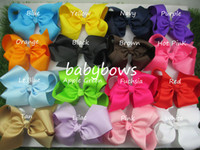 Hair Bows Silk Solid 6 inch big ribbon bows,Girls' hair accessories hair bow with clip, hot selling bows for girl hairpins-50pcs lot-Free Shipping HJ008+4.5cm